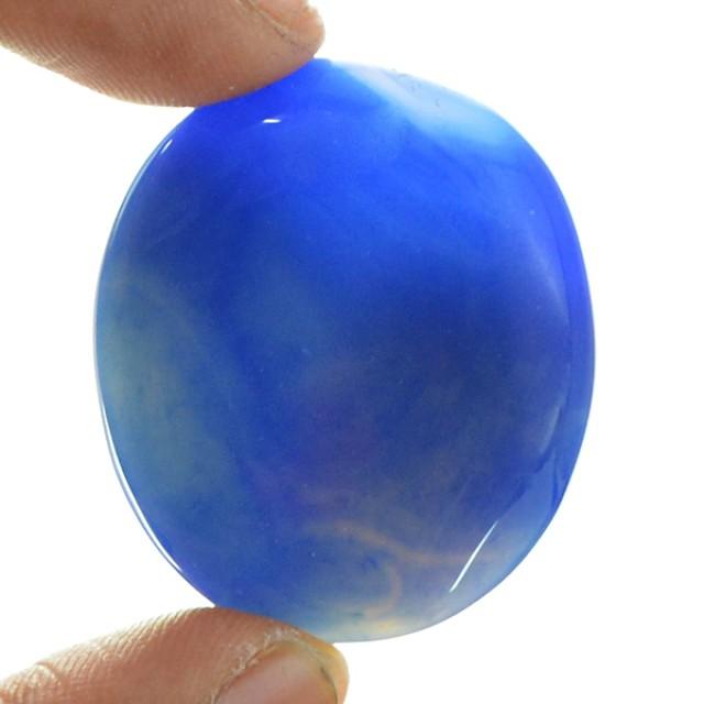 Genuine 55.25 Cts Oval Shaped Blue Onyx Cab