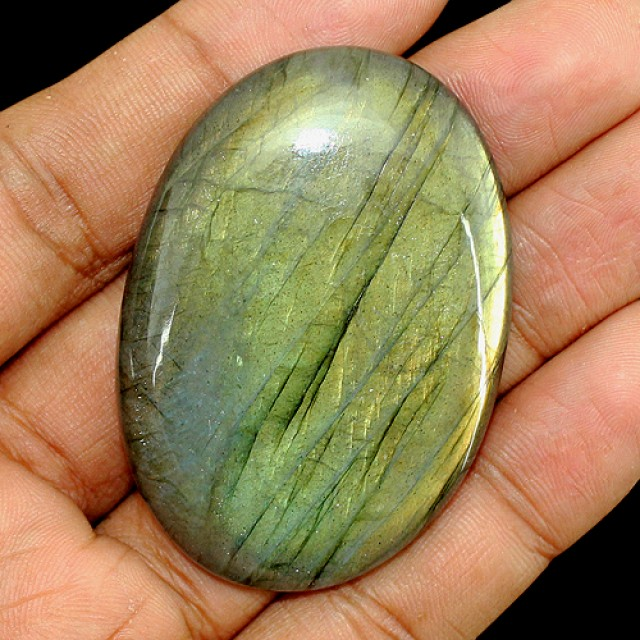 Genuine 172.00 Cts Oval Shaped Golden Color Labradorite Cab