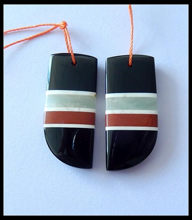 38Ct Natural Obsidian,Amazonite,Red Jasper,White Agate Intarsia Earring Bea