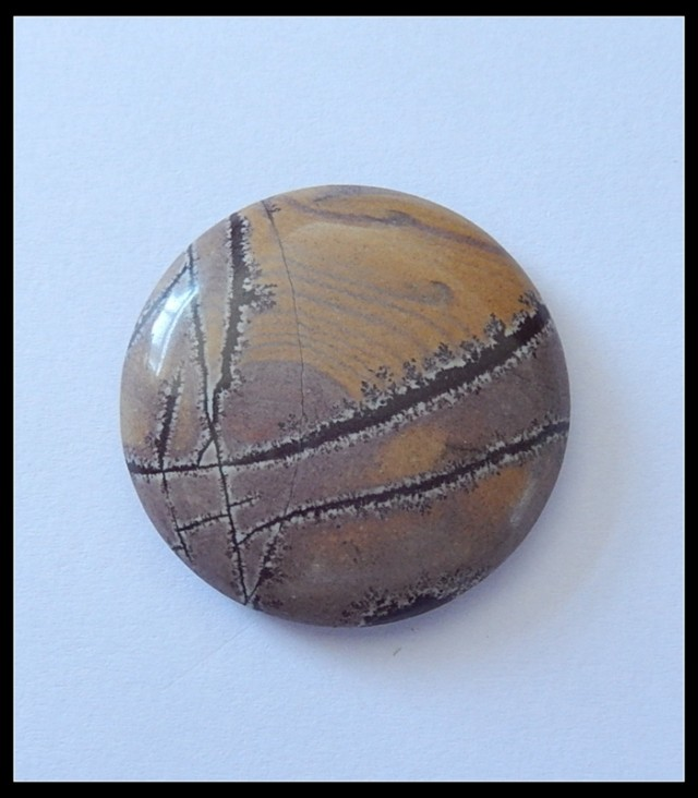 68.5Ct Natural Picture Display Jasper Round Cabochon