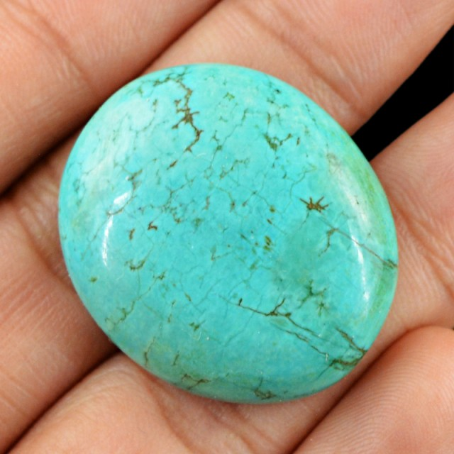 Genuine 53.25 Cts Oval Shaped Turquoise Cab