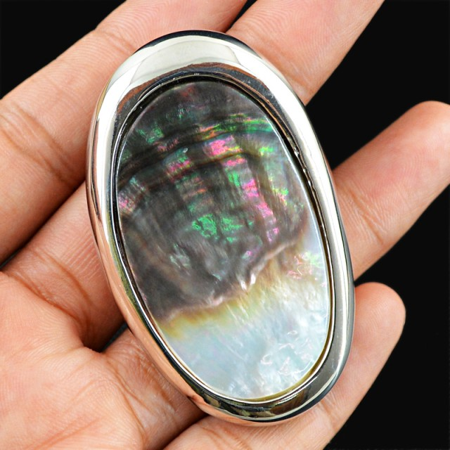 Natural 22.08 Gms .925 Sterling Silver Abalone Pendant