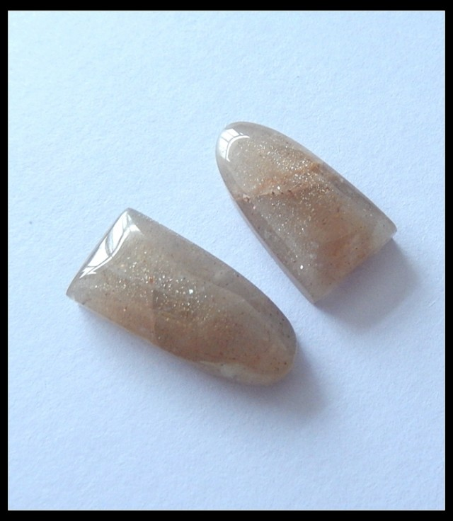 2pcs Natural Sunstone Cabochons,15.5CT(C0097)