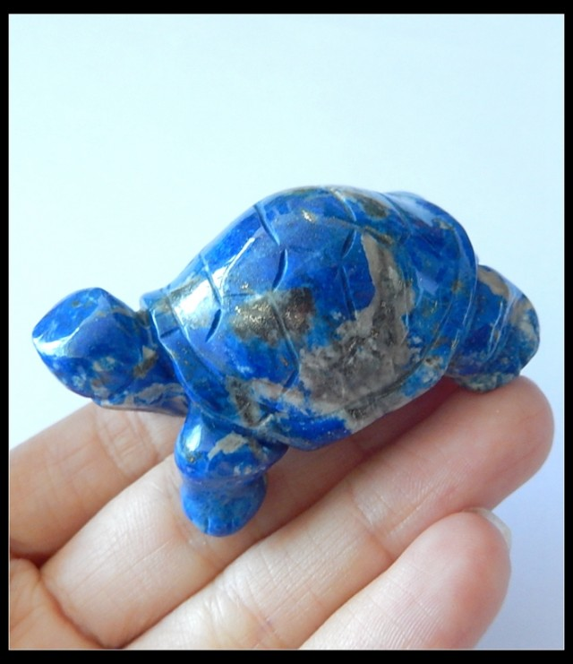 277.5Ct Natural Lapis Lazuli Gemstone Turtle Carving,Turtle Statues(D0040)