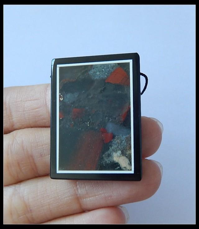 66.5Ct Bloodstone ,Black Jasper Intarsia Pendant Bead(B1804211)