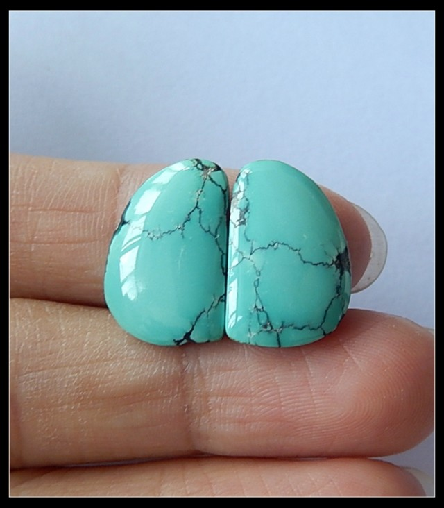 13.5Ct High Quality Turquoise Gemstone Cabochon Pair,Birth Stone Of Decembe