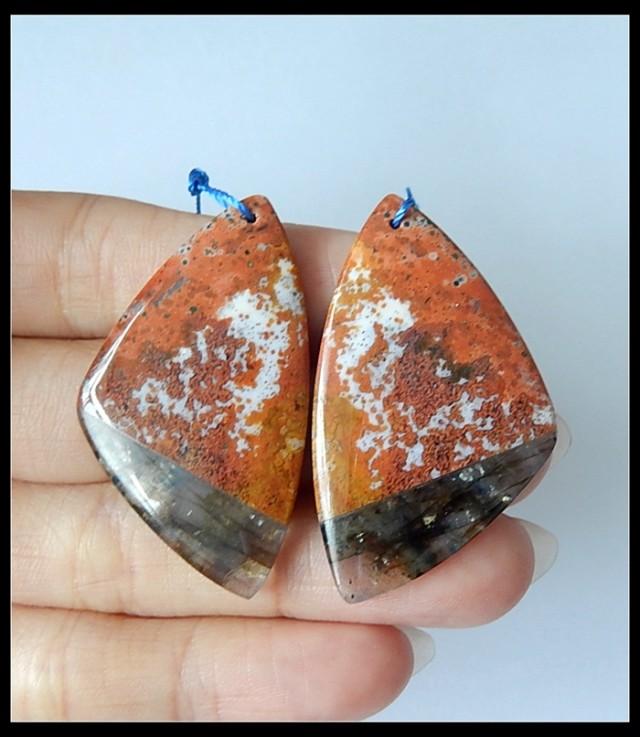 Natural Ocean Jasper ,Labradorite Gemstone Intarsia Earring Beads(A1854)