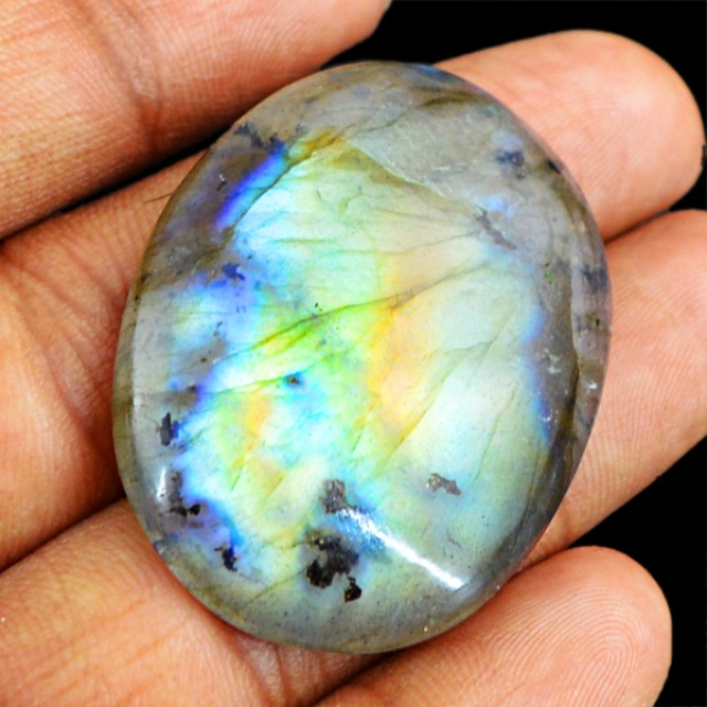 Genuine 57.20 Cts Oval Shaped Labradorite Cab