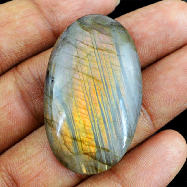 Genuine 59.25 Cts Oval Shaped Labradorite Cab
