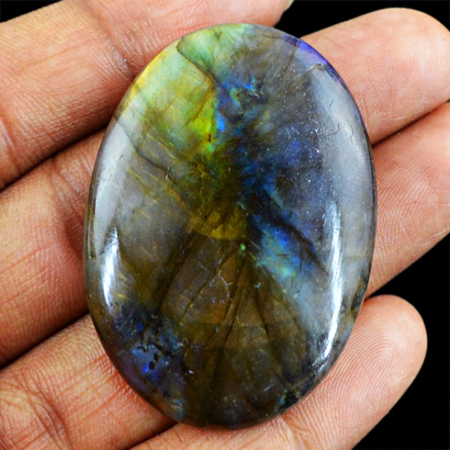 Genuine 81.45 Cts Oval Shaped Labradorite Cab