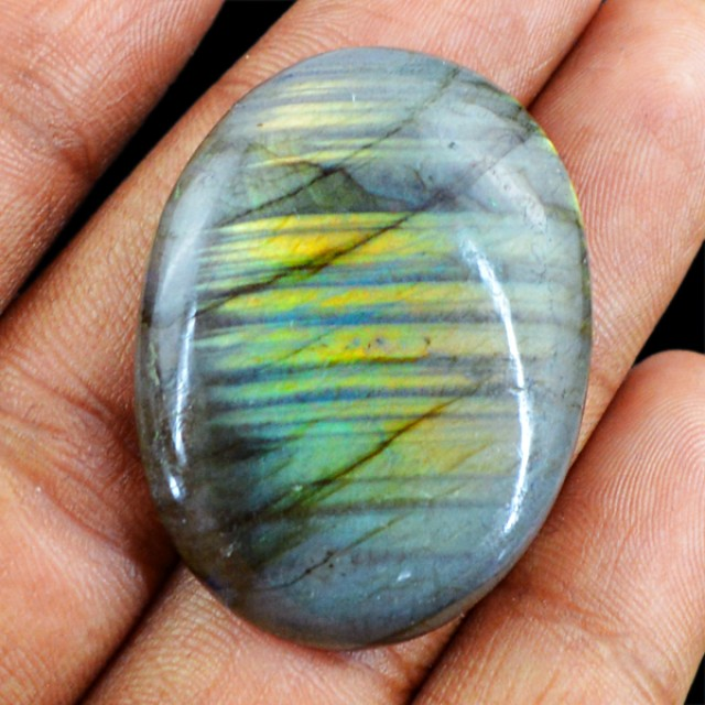 Genuine 55.35 Cts Oval Shaped Labradorite Cab