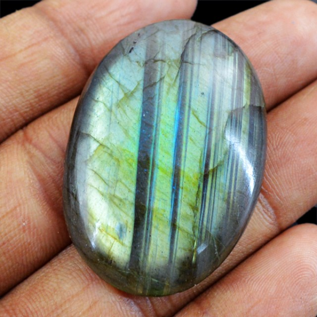 Genuine 67.00 Cts Untreated Oval Shaped Labradorite Cab