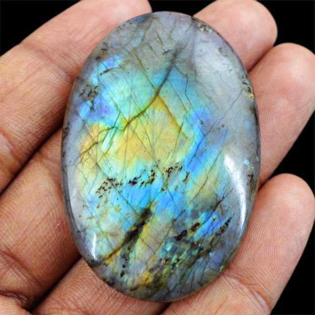 Genuine 90.40 Cts Labradorite Untreated Oval Shaped Cab