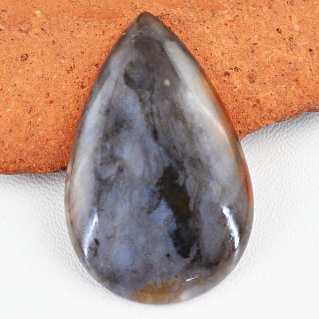 Genuine 76.00 Cts Pear Shaped Dendrite Jasper Cab