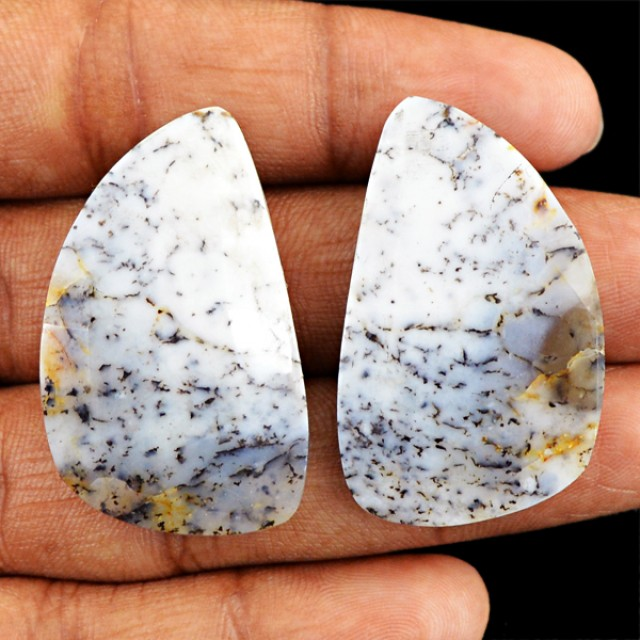 Genuine 40.00 Cts Checkered Cut Dendrite Jasper Cab Pair