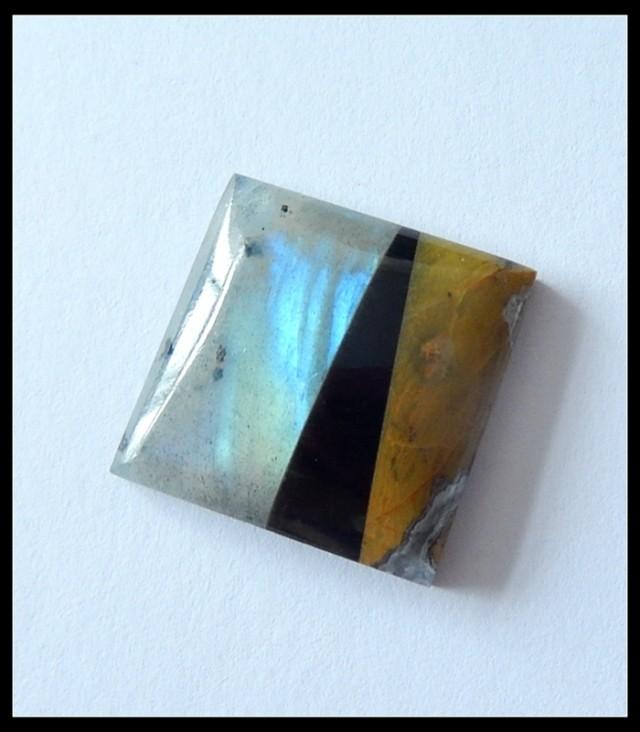 21.5Ct Natural Labradorite,Yellow Opal,Black Agate Intarsia Gemstone Caboch