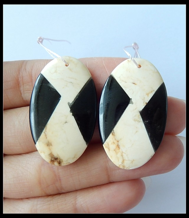 54.5Ct Natural Howlite ,Obsidian Intarsia Earring Beads(18091189)