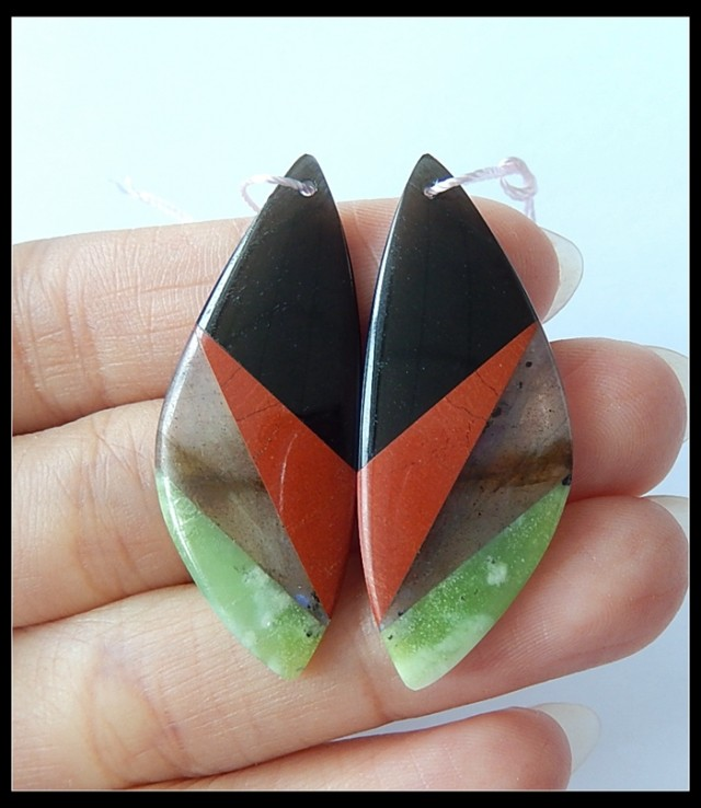 26.5Ct Natural Serpentine,Labradorite, Red Jasper,Obsidian 4 Stone  Intarsi