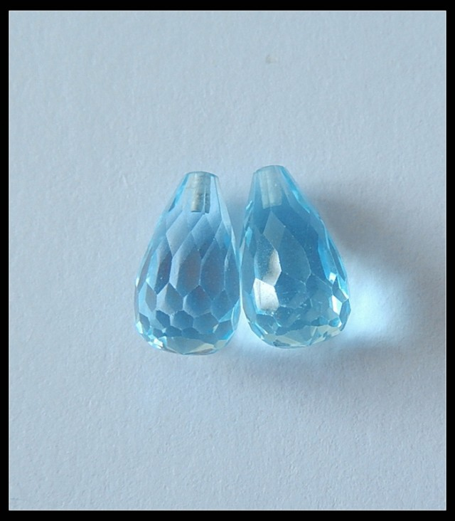 6.5ct Hot Sale Topaz Teardrop Pair Top Drilled