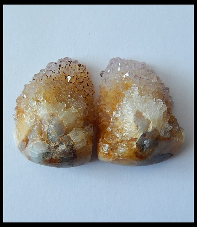 129.5Ct Natural Quartz Gemstone Pair, Druzy Cluster Gemstone
