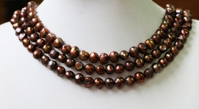 Three 9 mm  Chocolate Baroque Natural Pearl strands  GOGO 638