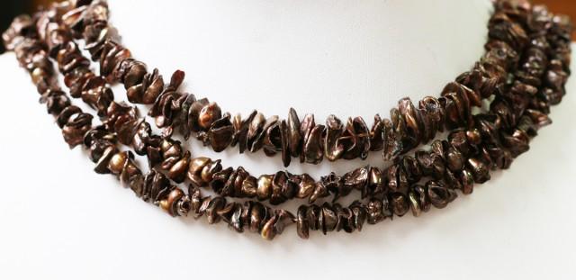 Three 9 mm Chocolate Keshi Natural Pearl strands  GOGO 813
