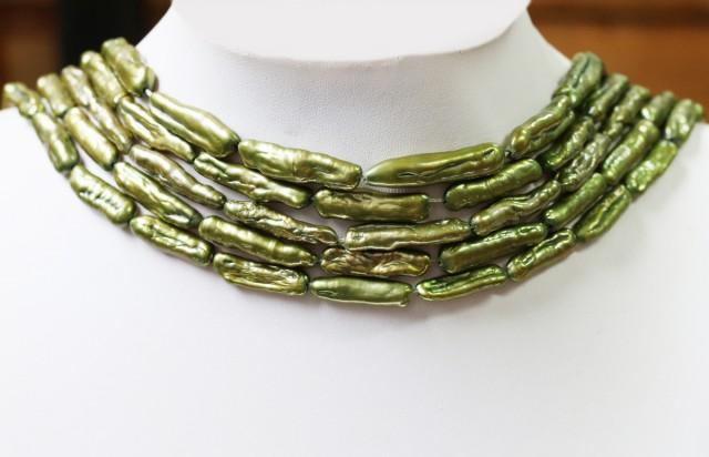 5x Olive stick  Natural Pearl strands  GOGO 821