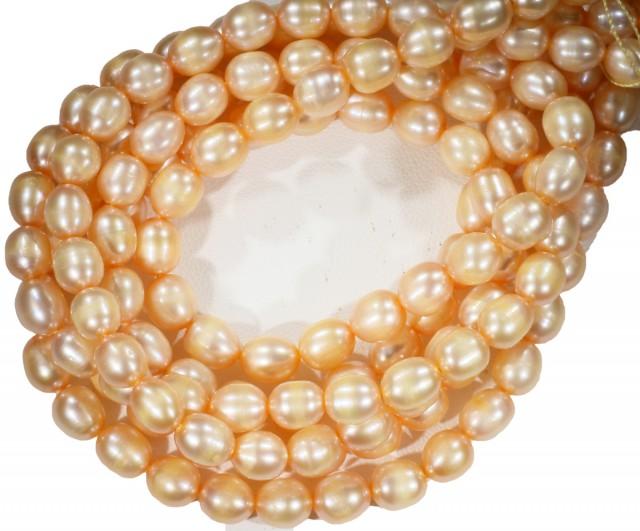 Three Apricot -Pink Oval  Natural Pearl strand  GOGO 832