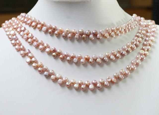 Three Pink Tip drill Natural Pearl strand  GOGO 835
