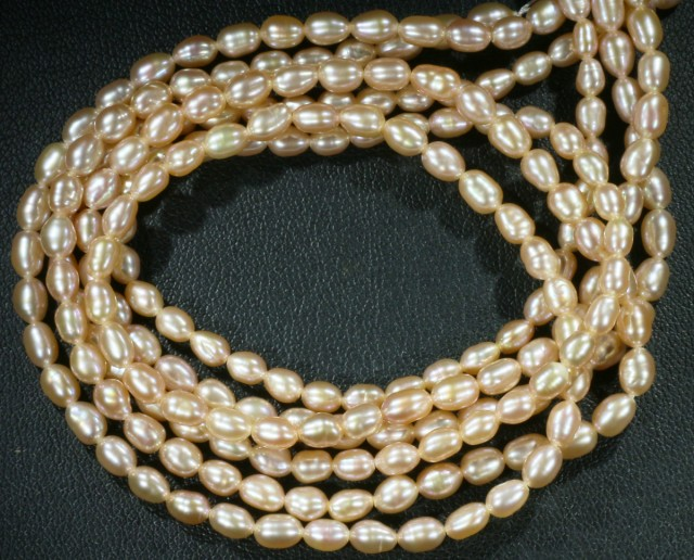 Pink Oval 6x4mm  Natural Pearl strands  GOGO 869