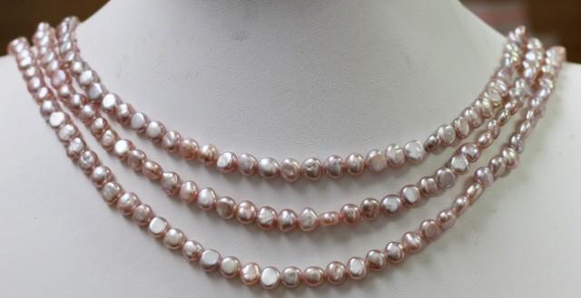 Three Pink baroque 6x4mm   Natural Pearl strand  GOGO 906