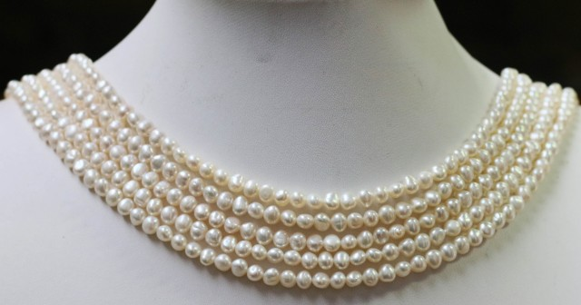 Five   white Baroque  5 mm Natural Pearl strands  GOGO 671