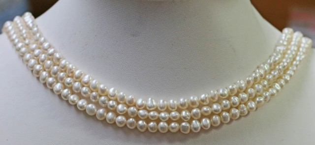 Three  white Baroque 5 mm Natural Pearl strands  GOGO 921