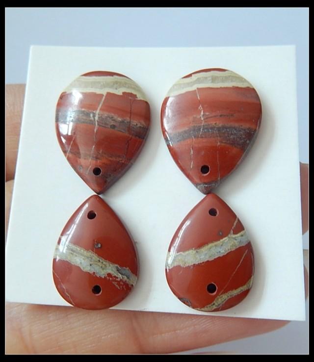 37.45Ct Natural Red Jasper Beads Pairs(C0087)