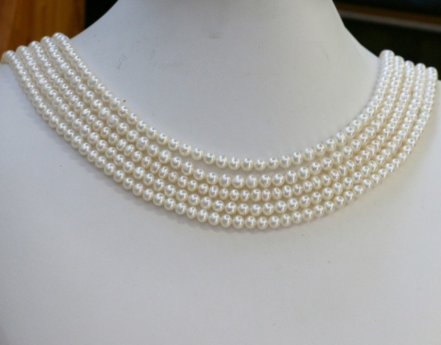 354.55 cts Five White side drill /baroque 4 mm Natural Pearl strands  GOGO9