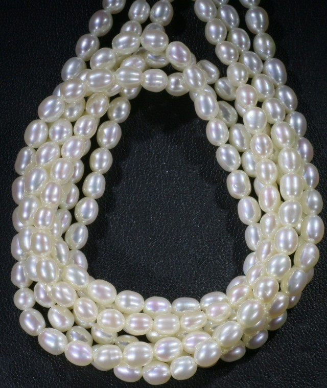 202.85 cts Three White side drill /oval 4 mm Natural Pearl strands  GOGO986
