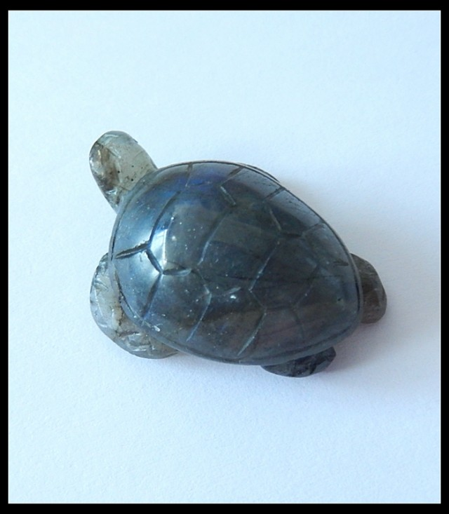 48.5Ct Natural Labradorite Turtle Carving