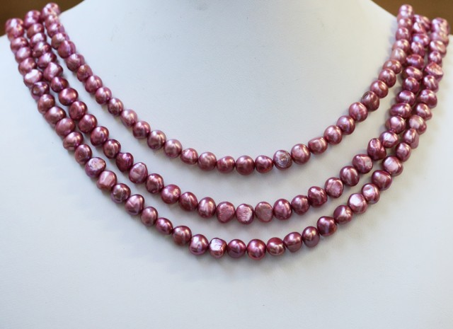 393.70 cts Three Pink (baby) Baroque Pearl strands  GOGO992