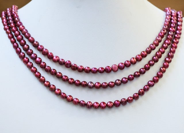 190.45 cts Three Pink (electric) Round Pearl strands  GOGO998