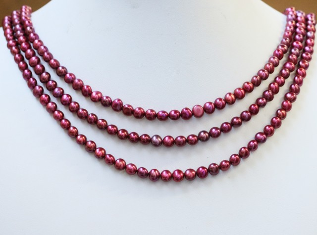 273.00 cts Three Pink (electric) Round Pearl strands  GOGO1001