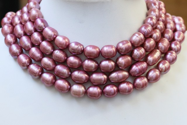1263.65 cts Four Pink Oval Side Drill Pearl strands  GOGO1055