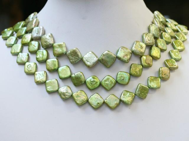 425.90 cts Green Pistachio Coin Square Pearl strands  GOGO1058