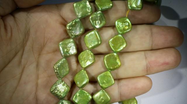 393.80 cts Green Pistachio Coin Square Pearl strands  GOGO1059