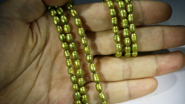 167.25 cts Three Pistachio Green Oval Pearl strands  GOGO1066
