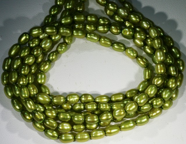 170.70 cts Three Pistachio Green Oval Pearl strands  GOGO1067