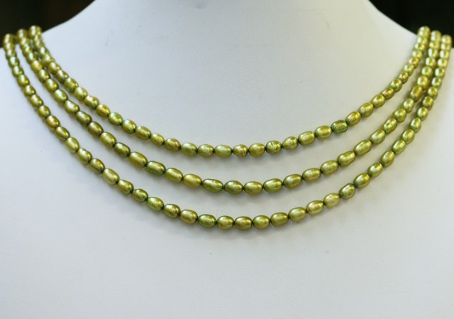 173.60 cts Three Pistachio Green Oval Pearl strands  GOGO1069