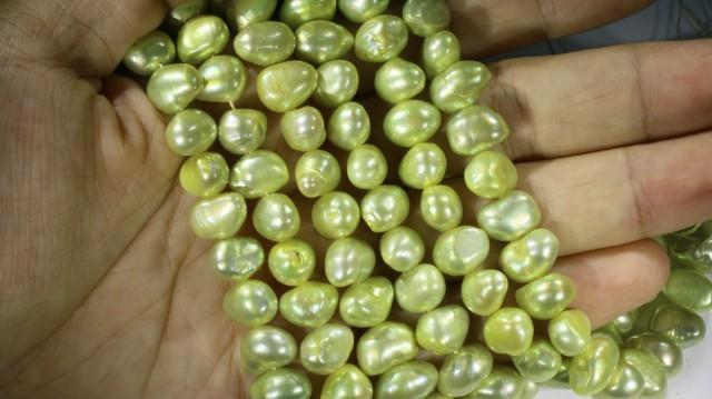 617.45 cts Three Pistachio Green Baroque Pearl strands  GOGO1083