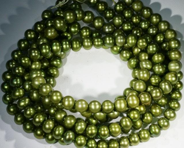 400.10 cts Three Pistachio Green Semi Round Pearl strands  GOGO1086