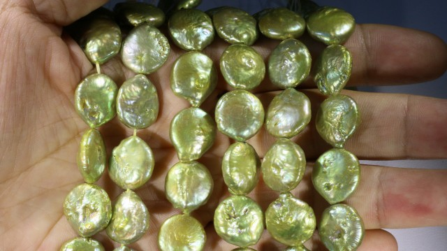 607.30 cts Three Pistachio Green Coin Round Pearl strands  GOGO1071