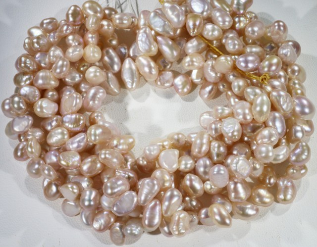 383.05 cts Three Pink Baroque Tip drill Pearl strands  GOGO1097